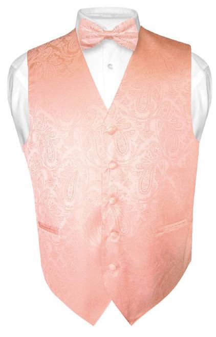 Peach Vest | Mens Paisley Design Dress Vest & Bow Tie