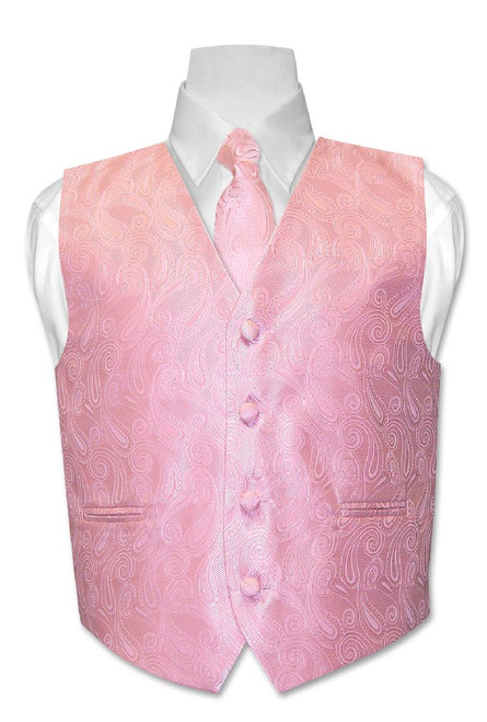 Covona Boys Paisley Dress Vest NeckTie Pink Neck Tie Set sz 14