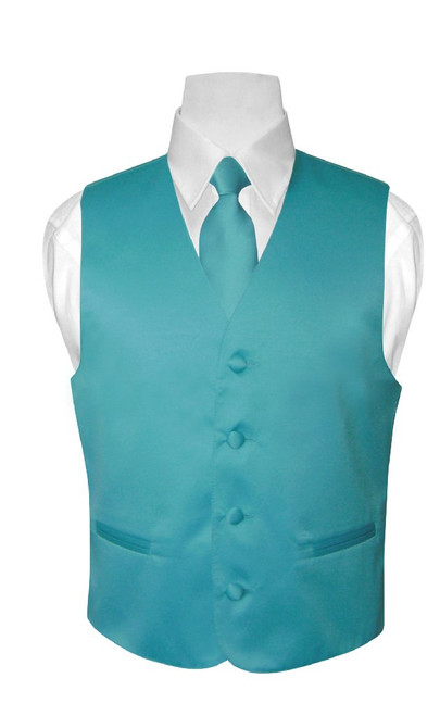 Boys Dress Vest NeckTie Turquoise Aqua Blue Color Neck Tie Set