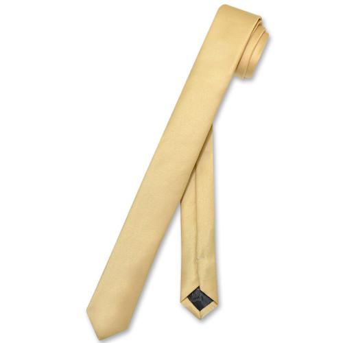 Vesuvio Napoli Narrow NeckTie Extra Skinny Gold Color Mens Neck Tie