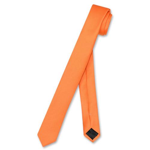 Vesuvio Napoli Narrow NeckTie Extra Skinny Orange Color Mens Neck Tie