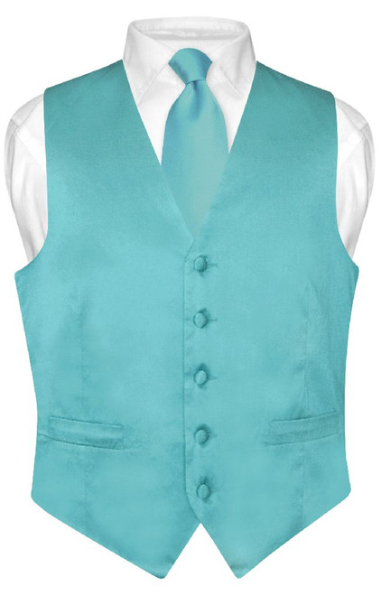 Turquoise Aqua Blue Vest and Neck Tie | Silk Solid Vest NeckTie Set