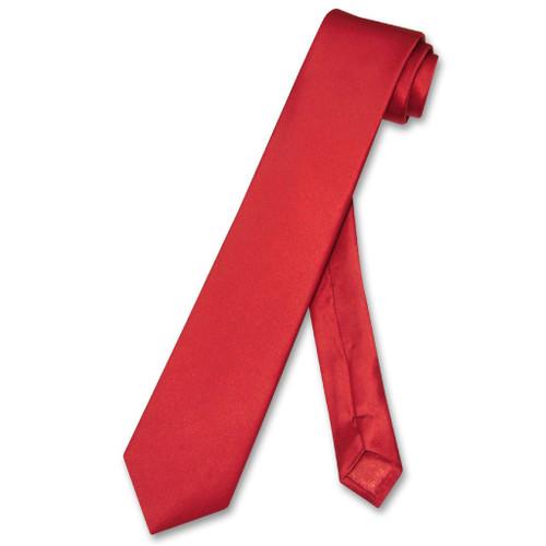 Biagio 100% Silk Narrow NeckTie Skinny Rose Red Color Mens Neck Tie