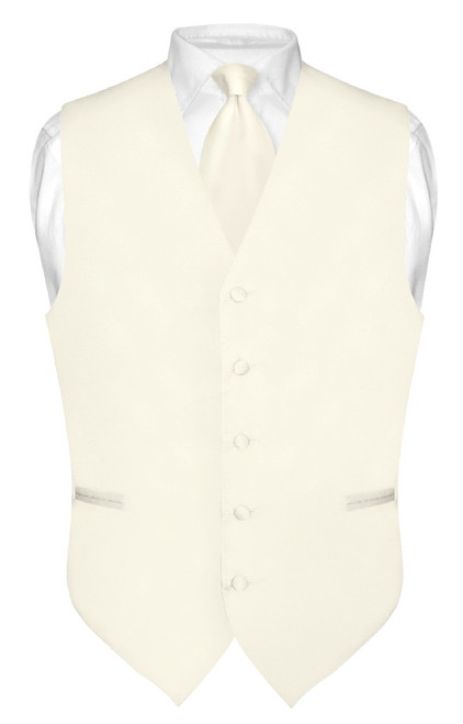 Cream Colored Vest And Cream Colored NeckTie Matching Set