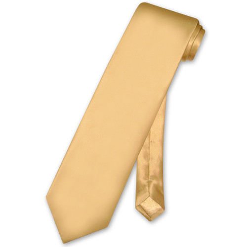 Biagio 100% Silk NeckTie Extra Long Solid Gold Color Mens XL Neck Tie