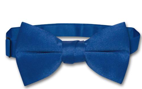 Vesuvio Napoli Boys BowTie Solid Royal Blue Color Youth Bow Tie