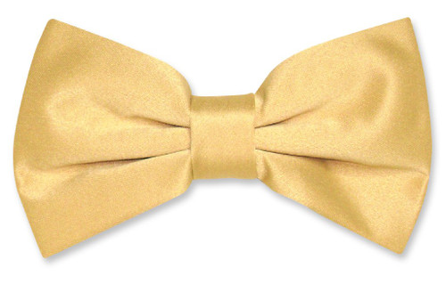 Vesuvio Napoli BowTie Solid Gold Color Mens Bow Tie