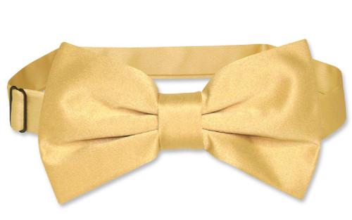 Vesuvio Napoli BowTie Solid Gold Color Mens Bow Tie
