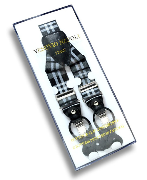Mens Plaid Design Black GREY White Suspenders Y Shape Buttons & Clips
