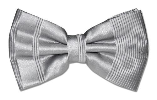 Vesuvio Napoli BowTie Silver Gray Striped Grey Color Mens Bow Tie