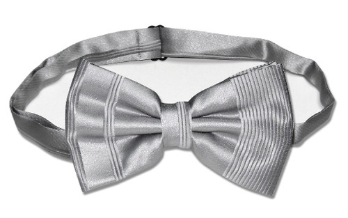 Vesuvio Napoli BowTie Silver Gray Striped Grey Color Mens Bow Tie