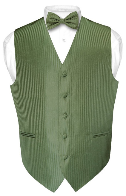 Mens Dress Vest BowTie Olive Green Color Vertical Striped Set
