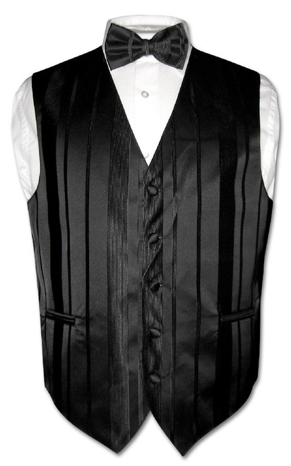 Mens Dress Vest BowTie Black Color Woven Striped Bow Tie Set