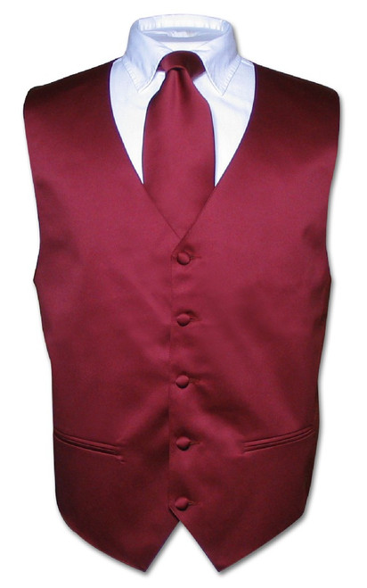 Mens Burgundy Tie | Mens Dress Vest And Neck Tie Set