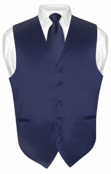 Mens Dress Vest & NeckTie Solid Navy Blue Color Neck Tie Set