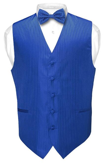 Mens Dress Vest BowTie Royal Blue Color Vertical Striped Bow Tie Set