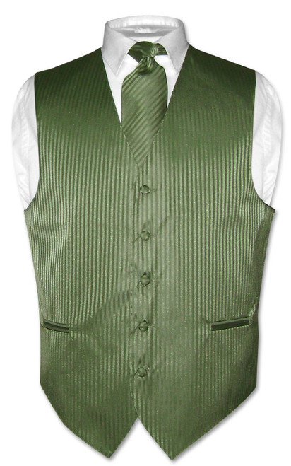 Mens Dress Vest & NeckTie Olive Green Color Vertical Striped Set