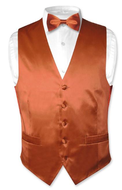 Biagio Mens Silk Dress Vest & Bow Tie Solid Burnt Orange BowTie Set