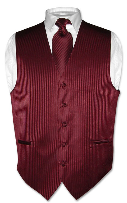 Mens Dress Vest & NeckTie Burgundy Color Vertical Striped Neck Tie Set