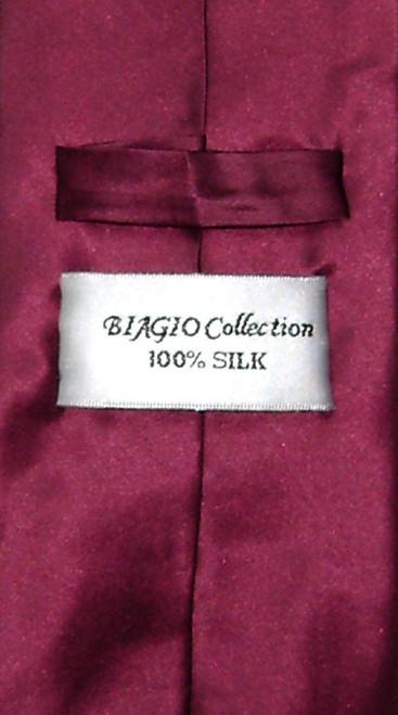 Burgundy Necktie | Mens Biago Silk Solid Burgundy Necktie