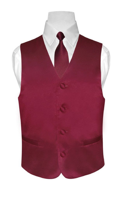 Boys Dress Vest NeckTie Solid Burgundy Color Neck Tie Set