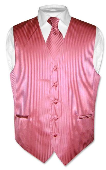 Mens Dress Vest NeckTie Coral Pink Color Vertical Striped Neck Tie Set