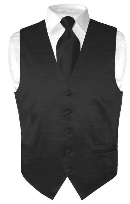 Biagio Mens Solid Black Bamboo Silk Dress Vest Neck Tie Set size 3XL