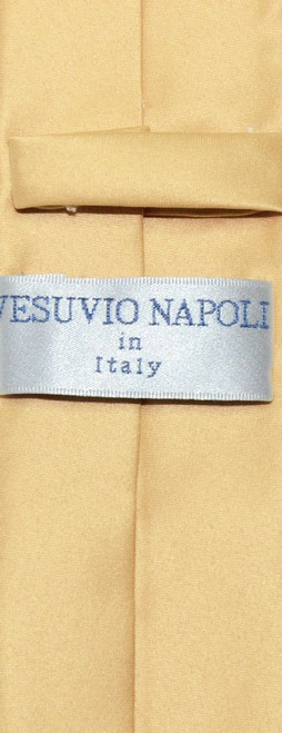 Vesuvio Napoli Narrow NeckTie Skinny Gold Color Mens Thin Neck Tie
