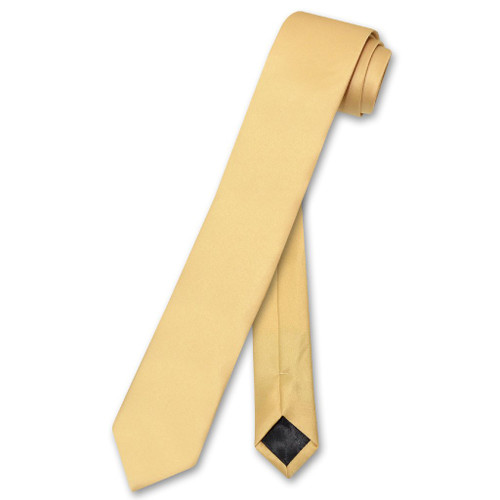 Vesuvio Napoli Narrow NeckTie Skinny Gold Color Mens Thin Neck Tie