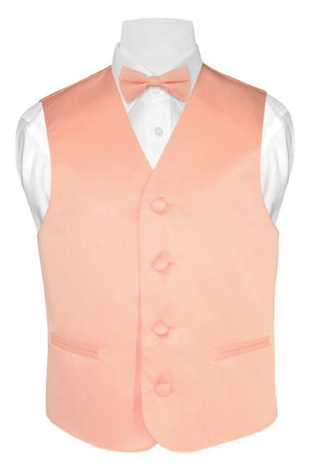 Boys Dress Vest Bow Tie Solid Peach Color Vest and BowTie Set