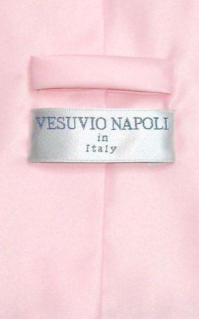 Vesuvio Napoli Solid Pink NeckTie Handkerchief Mens Neck Tie Set