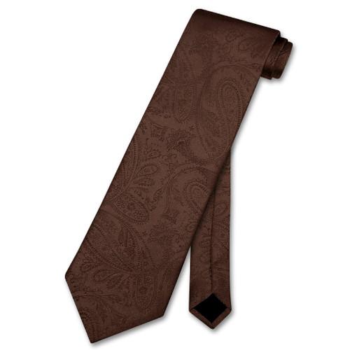 Vesuvio Napoli NeckTie Chocolate Brown Paisley Design Mens Neck Tie