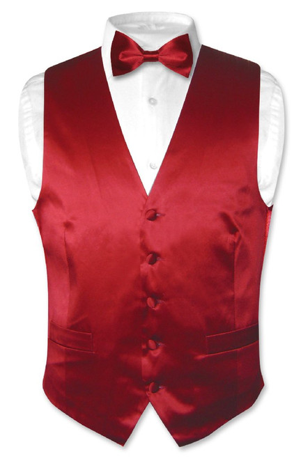 Dark Red Vest | Dark Red Bow Tie | Silk Dark Red Vest Bow Tie Set