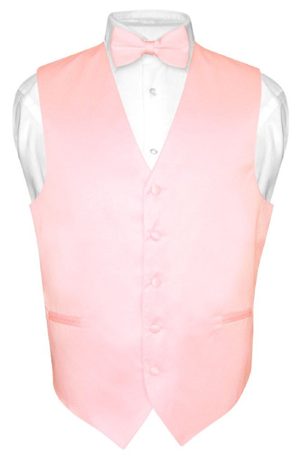 Mens Dress Vest & BowTie Solid Pink Color Bow Tie Set