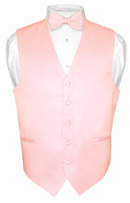 Mens Dress Vest & BowTie Solid Pink Color Bow Tie Set