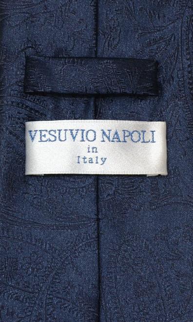 Vesuvio Napoli Navy Blue Paisley NeckTie & Handkerchief Neck Tie Set