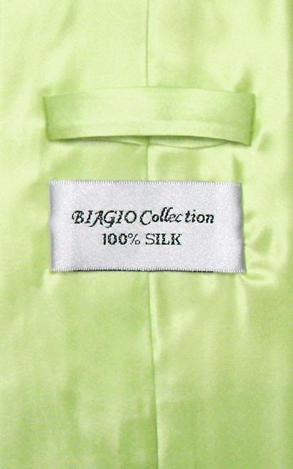Biagio 100% Silk NeckTie Solid Lime Green Color Mens Neck Tie