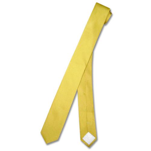 Gold Color Extra Skinny Neck Tie   Mens Extra Skinny Silk NeckTies