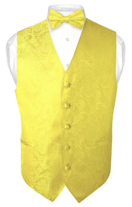 Mens Paisley Design Dress Vest & Bow Tie Yellow Color BowTie Set