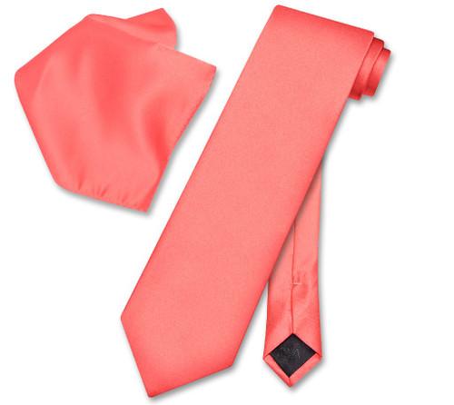 Vesuvio Napoli Solid Coral Pink NeckTie Handkerchief Mens Neck Tie Set