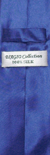 Biagio 100% Silk Narrow NeckTie Skinny Royal Blue Color Mens Neck Tie