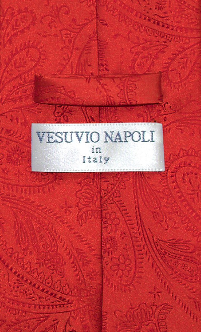 Vesuvio Napoli NeckTie Red Color Paisley Design Mens Neck Tie