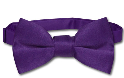 Vesuvio Napoli Boys BowTie Solid Purple Indigo Color Youth Bow Tie