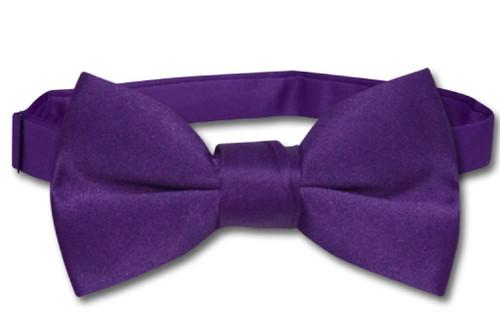 Vesuvio Napoli Boys BowTie Solid Purple Indigo Color Youth Bow Tie
