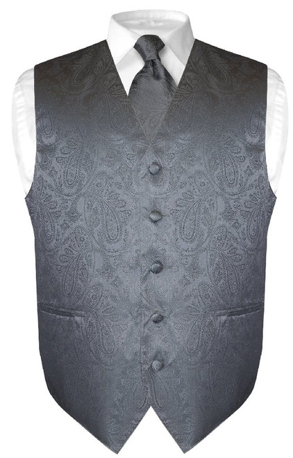 Mens Paisley Design Dress Vest & NeckTie Charcoal Grey Neck Tie Set