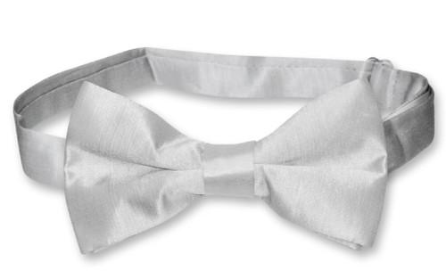 Biagio Bamboo Silk Silver Gray BowTie   Solid Color Mens Bow Tie