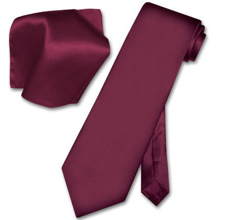 Eggplant Tie | Eggplant Purple Color Silk Neck Tie Handkerchief Set