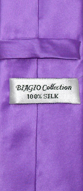 Biagio 100% Silk Narrow NeckTie Skinny Purple Indigo Color Mens Tie