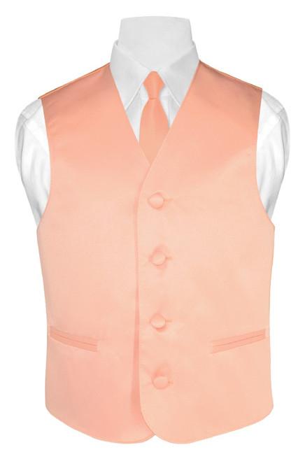 Boys Dress Vest Neck Tie Solid Peach Color Vest and NeckTie Set
