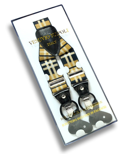 Mens Plaid Design Black Yellow White Suspenders Y Shape Buttons Clips